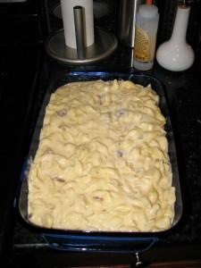 in the casserole dish