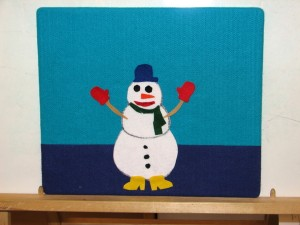 finished snowman flannelboard