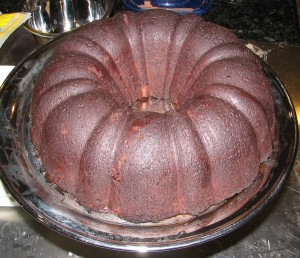 cooled cake