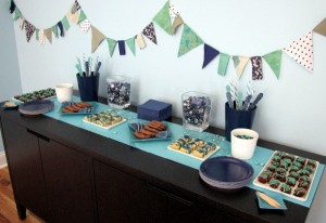 navy aqua dessert table