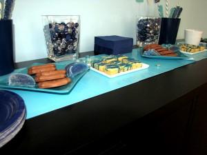 navy aqua dessert table 2