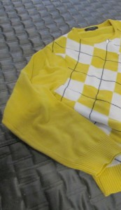 yellow argyle cardigan