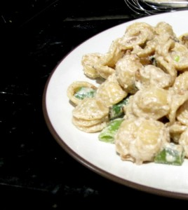 Orecchiette with Caramelized onions, sugar snap peas, and ricotta