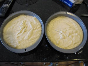 lobster cake batter in pans