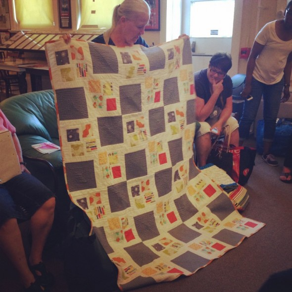 Kat's quilt for the Michael Miller challenge. She whips out huge quilts in no time flat...this is itty bitty for her.